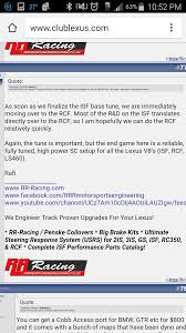 lexus v8 rcf rr racing looks to have isf ecu nexts up rcf clublexus