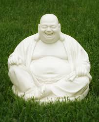 happy buddha statue in white finish 12 inches