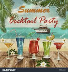 summer cocktail party poster stock illustration 377954458