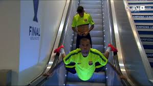 dani alves amazing trick to down the electric stair youtube