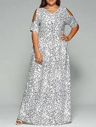 plus size cold shoulder long bohemian dress in white 2xl
