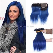 blue hair extensions silk blue hair human hair extension 3