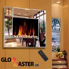 electric wall fire fireplace mounted stylish mirror glass flicker