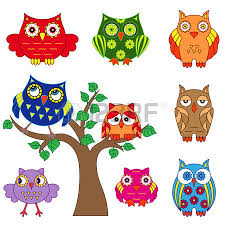 set of various ornamental owl and owls on the tree outlines isolated