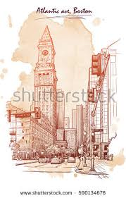 panorama state street custom house tower stock vector 591026102