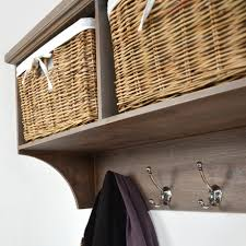tetbury hallway shelf with coat rack and wicker baskets bench