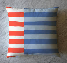 White Blue Orange Flag Stripe Pillow Orange White And Blue
