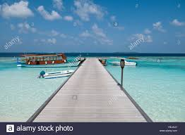 an empty wooden jetty and moored boats six senses soneva fushi