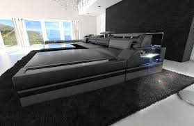 Big Sofa by Big Sectional Sofa Monza U Shaped With Led Lights Black Grey Ebay