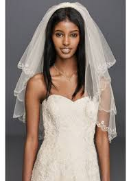 bridal veil fingertip length two tier veil with scallop edge david s bridal