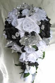 silk corsages wedding bouquet bridal silk flowers cascade black silver white