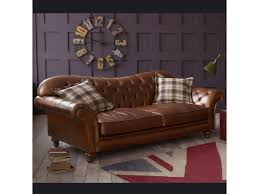 The Chesterfield Sofa Company The Crompton Vintage Brown Leather Chesterfield Sofa Living Room