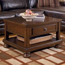 Rustic Brown Coffee Table Furniture Signature Design Porter Lift Top