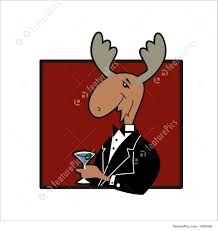 martini illustration moose with martini illustration