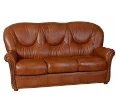 canapé cuir fauve canapé cuir 3 places stylisé lucia fauve mobilier salon meuble fin