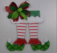 elf shoe door hanger christmas door hanger elf door hanger hand