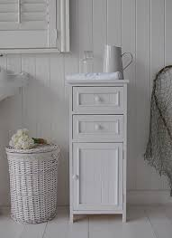 White Bathroom Storage Cabinet With Drawer Maine Bathroom Slim Cabinet With Drawers Cupboard White Cottage