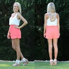 Color Of The Wind Color Of The Wind Off White And Coral Romper Monday Dress So