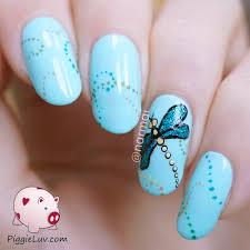 piggieluv glitter dragonfly nail art