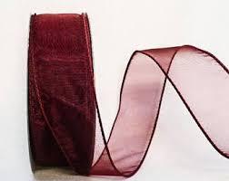burgundy wired ribbon wired wine ribbon etsy