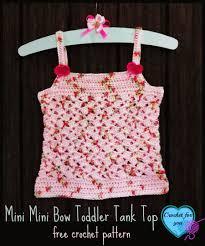 mini mini bow toddler tank top free crochet pattern crochet