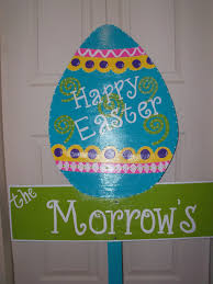 whimsical turquoise handpainted wooden easter egg yard sign he