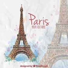 hand painted eiffel tower vector free download