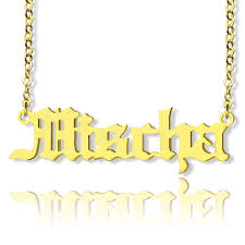 Name Chain Gold Adam Style Old English Font Name Necklace