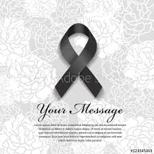 funeral ribbon funeral card black ribbon and place for text on soft flower