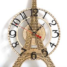 buy the eiffel tower large wooden wall clock at woodandroot for