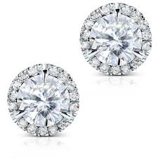 diamond studs earrings moissanite and diamond stud earrings 3 1 4 carat ctw