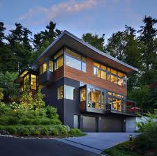 gunmetal gray exterior contemporary with double garage
