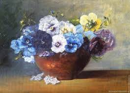 buy oil painting flowers pansy on livemaster online shop