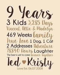 9th anniversary gift ideas 9th anniversary gift 9 years married wedding anniversary gift