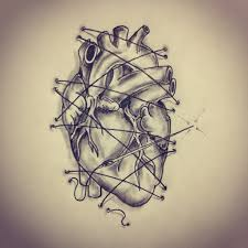 anatomical heart threaded on the skin tattoo sketch by ranz