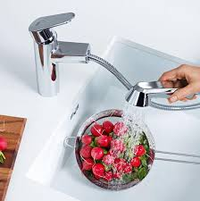Grohe Eurodisc Kitchen Faucet by Eurodisc Cosmopolitan Single Handle Pull Out Kitchen Faucet
