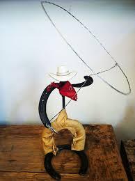 handmade horseshoes handmade horseshoe cowboy with lasso rustic wood furniture