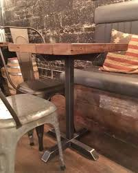 reclaimed wood outdoor table reclaimed wood and steel pedestal pub table wage of labor llc