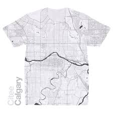 Calgary Map Citee Fashion Calgary Map T Shirt