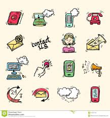 contact us icons sketch stock vector image of chat isolated