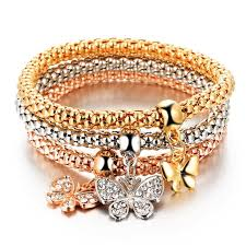 butterfly bracelet charms images Elastic butterfly bracelet with charms three turns simil gold or jpg