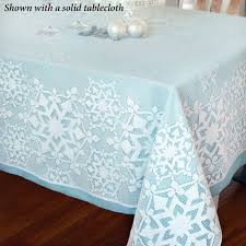 snowflake glitter white lace oblong tablecloth