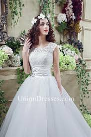 modest ball gown scalloped neck cap sleeve organza lace wedding