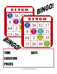 red bingo cards make up this fun event flyer for schools and clubs