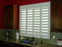Kitchen Window Shutters Interior Strangetowne Look Of Plantation Shutters At Your Window