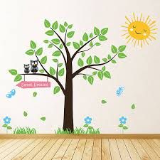tree with owls and butterflies wall stickers by parkins interiors