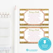 bring a book baby shower gold and pink book request card bring a book baby shower