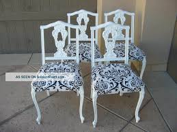 Antique French Dining Table French Inspired Dining Room French Set Of Four Vintage French Provincial Black And White Damask