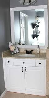 Framing Builder Grade Bathroom Mirror Framing Mirror Using Crown Molding And Spray Paint So Much
