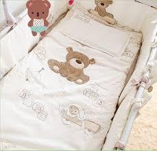 Beige Crib Bedding Set 7pcs Baby Bedding Set For Crib Newborn Baby Bed Linens For